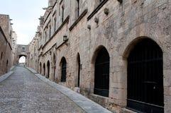 De straat van de ridder in Rhodos Stock Fotografie