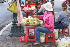De straat van de straatverkoper in Phnom Phen Stock Fotografie