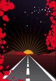 De straat van de zonsondergang Stock Afbeeldingen