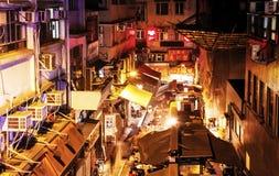 De straat van het nachtvoedsel in Chinatown, Hong Kong Royalty-vrije Stock Fotografie