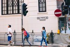De straat van de Hollywoodweg in Hong Kong stock afbeeldingen