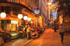 De straat van Istanboel bij nacht stock foto's
