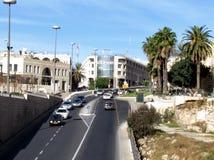 De straat van Jeruzalem Yafo dichtbij Jaffa-Poort 2012 Stock Foto's