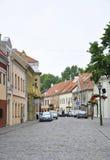 De 21.2014-straat van Kaunasaugustus in Oude stad in Kaunas in Litouwen stock fotografie