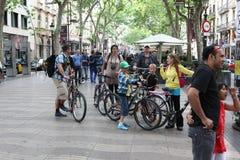 De straat van La Rambla in Barcelona, Spanje Stock Foto