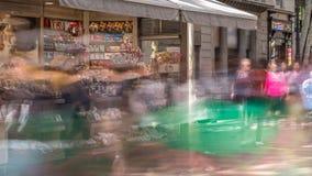 De straat van La Rambla in Barcelona timelapse, Spanje stock videobeelden