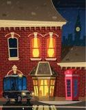 De straat van Londen bij nacht royalty-vrije illustratie