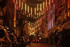 De straat van Londen bij nacht Stock Foto
