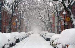 De straat van Montreal in de winter Stock Foto's