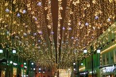 De Straat van Moskou in de Kerstmisdecoratie royalty-vrije stock fotografie