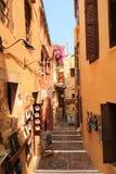 De straat van Nice in oude stad van Chania met winkels Royalty-vrije Stock Fotografie