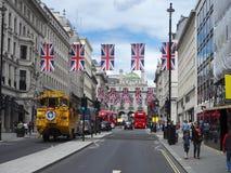 De straat van Oxford tijdens Brexit royalty-vrije stock afbeeldingen