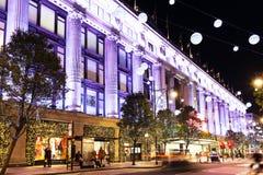 13 de Straat van Oxford van November 2014, Londen, voor Kerstmis wordt verfraaid die Royalty-vrije Stock Foto's