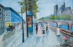 De straat van Parijs op een regenachtige dag stock afbeelding