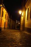 De straat van Praag bij nacht Royalty-vrije Stock Afbeeldingen