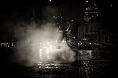 De straat van Praag van de nacht Stock Fotografie