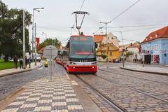 De straat van Praag van de tramspoorweg Stock Foto's