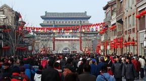 De straat van Qianmen in Peking tijdens het Festival van de Lente Royalty-vrije Stock Fotografie