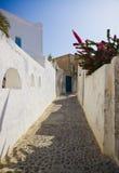 De straat van Santorini (Oia), Griekenland stock foto