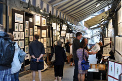 De straat van schilders bij de Stad van Quebec, Canada Royalty-vrije Stock Afbeeldingen