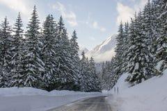 De straat van Strasse van de Fluelapas in de winter in Davos, Zwitserland Royalty-vrije Stock Foto