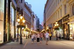 De straat van Utca van Vaci royalty-vrije stock afbeeldingen