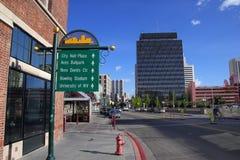 De straat van Virginia in Reno van de binnenstad, Nevada Stock Foto's