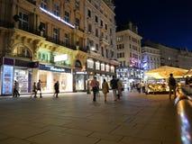 De straat van Wenen Graben bij nacht Royalty-vrije Stock Foto's