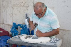De straatbeeldhouwer van Lissabon Stock Afbeelding