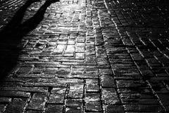 De straatfotografie in oude zwart-wit kijkt met oude natte weg in zonlicht stock afbeelding