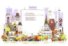 De straatillustratie van de de herfststad Stock Afbeeldingen