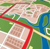 De straatkaart van de stad met navigatiepijl. Stock Fotografie