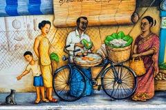 De straatkunst of graffiti van Tiongbahru op de muur Royalty-vrije Stock Foto