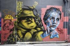 De straatkunst is één van de belangrijkste toeristenaantrekkelijkheid in Melbourne Stock Foto