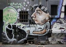 De straatkunst is één van de belangrijkste toeristenaantrekkelijkheid in Melbourne Royalty-vrije Stock Foto
