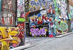 De straatkunst van de Hosiersteeg in Melbourne Stock Fotografie