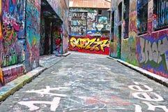 De straatkunst van de Hosiersteeg in Melbourne Stock Foto