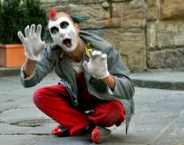 De straatkunstenaar van de clown in Italië Royalty-vrije Stock Afbeeldingen