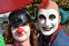 De straatkunstenaars van de clown in Italië Stock Fotografie