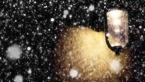 De Straatlantaarn van de nachtwinter met Dalende Sneeuw stock video