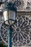 De straatlantaarn van het Notre Dame de Paris stock foto