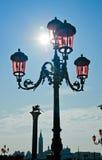 De straatlantaarn van Venetië op het vierkant van Heilige Marco Stock Foto
