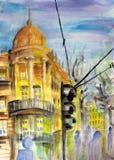 De straatmening van Belgrado stock illustratie