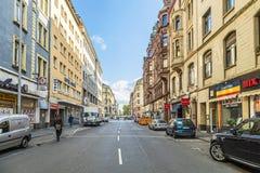 De straatmening van de binnenstad in Frankfurt Stock Afbeelding