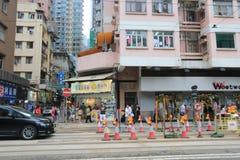 De straatmening van de verhoogde wegbaai in Hong Kong Stock Afbeeldingen