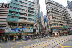 De straatmening van de verhoogde wegbaai in Hong Kong Royalty-vrije Stock Foto