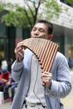 De straatmusicus speelde panfluit in de stad van Taipeh stock afbeeldingen