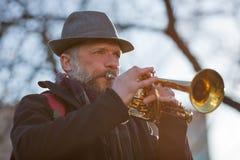 De straatmusicus speelt muziek Royalty-vrije Stock Afbeelding