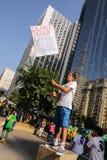 De straatprotest 12 April 2015 São Paulo van Brazilië Royalty-vrije Stock Foto