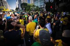 De straatprotest 12 April 2015 São Paulo van Brazilië Stock Afbeeldingen